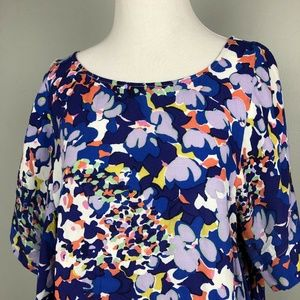 Maeve Womens Top Size Large Floral Blue
